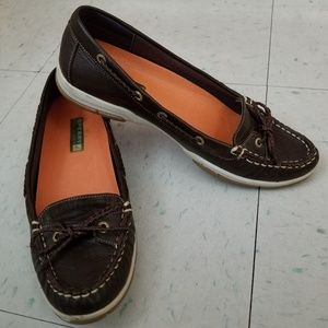 Sperry Topsider Leather Dark Brown Boat Shoes 7M